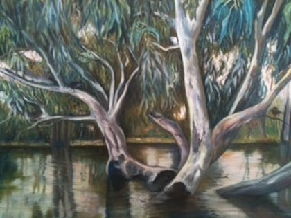(CreativeWork) The Murray River by Toni Brown. oil-painting. Shop online at Bluethumb.