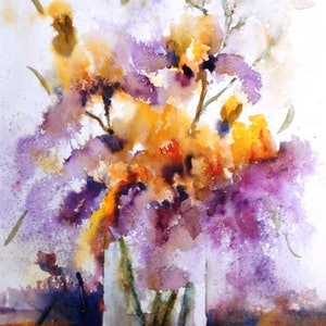 (CreativeWork) Iris Impressions by Lorelle Boyce. watercolour. Shop online at Bluethumb.