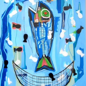 (CreativeWork) Big fish eat the little ones by Cameron Holmes. mixed-media. Shop online at Bluethumb.