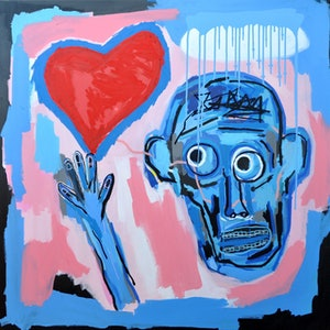 (CreativeWork) Emotional Be-ing (needs love) by Cameron Holmes. acrylic-painting. Shop online at Bluethumb.