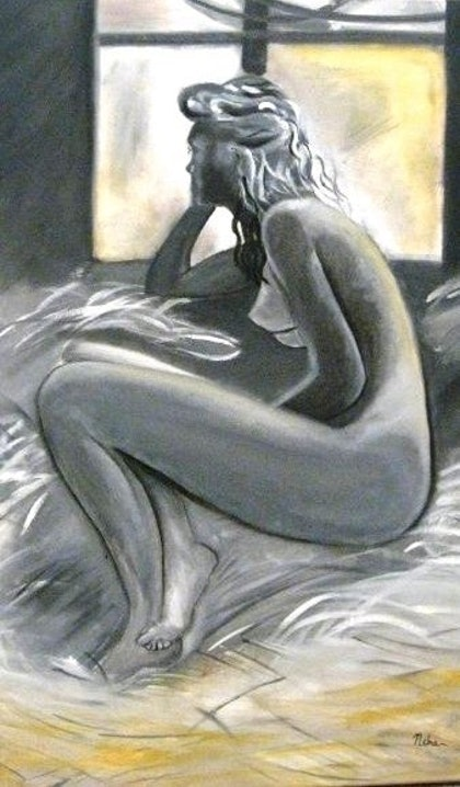 (CreativeWork) lost in thought by Neha Baid. oil-painting. Shop online at Bluethumb.