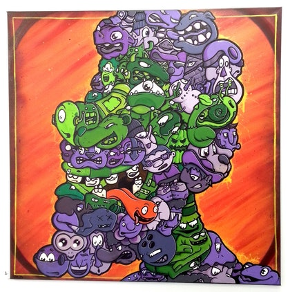 (CreativeWork) grape face by Harvey Gresley-Daines. other-media. Shop online at Bluethumb.