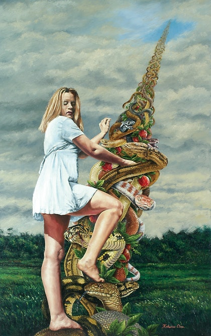 (CreativeWork) Climbing into womanhood by Katherine Close. oil-painting. Shop online at Bluethumb.
