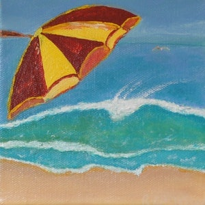 (CreativeWork) Beach day by Richard Benson. arcylic-painting. Shop online at Bluethumb.