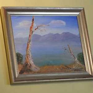"""(CreativeWork) """"Mountain View"""" by Richard Benson. arcylic-painting. Shop online at Bluethumb."""