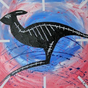 (CreativeWork) Flying Kangaroo by Leith Kennedy. mixed-media. Shop online at Bluethumb.
