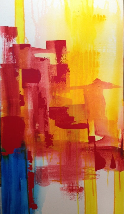(CreativeWork) Piled High by Terry Stone. arcylic-painting. Shop online at Bluethumb.