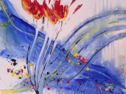 (CreativeWork) Poppies by Stream by Terry Stone. arcylic-painting. Shop online at Bluethumb.
