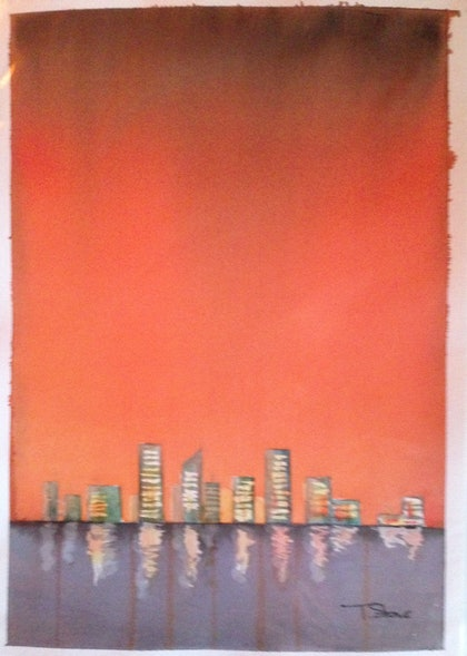 (CreativeWork) Amber City by Terry Stone. watercolour. Shop online at Bluethumb.