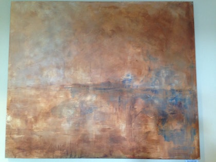(CreativeWork) Misty Grand Canal by Terry Stone. arcylic-painting. Shop online at Bluethumb.