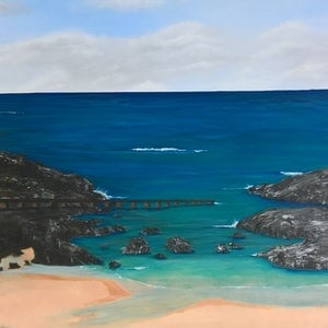 (CreativeWork) Port Kembla Beach by Cheryl James. arcylic-painting. Shop online at Bluethumb.