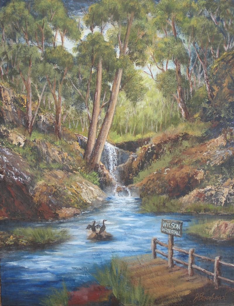 (CreativeWork) Wilson Falls by Jennifer Beresford. arcylic-painting. Shop online at Bluethumb.