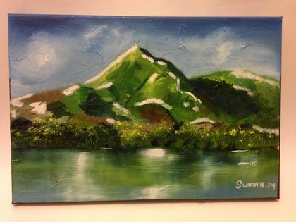 (CreativeWork) HIMALAYAS RIVER by SUMAN MALIK. oil-painting. Shop online at Bluethumb.