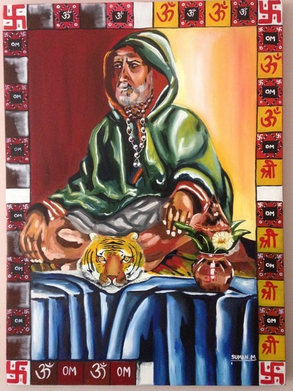 (CreativeWork) the monk by SUMAN MALIK. oil-painting. Shop online at Bluethumb.