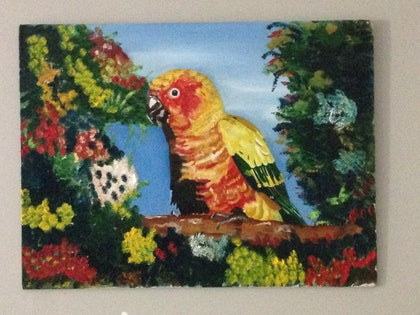 (CreativeWork) cute parrot by SUMAN MALIK. oil-painting. Shop online at Bluethumb.