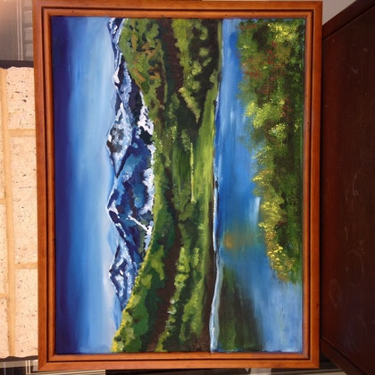 (CreativeWork) HIMALAYAS by SUMAN MALIK. oil-painting. Shop online at Bluethumb.