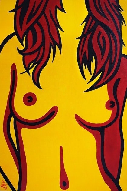 (CreativeWork) Yellow Nude by Nathan Dukes. arcylic-painting. Shop online at Bluethumb.