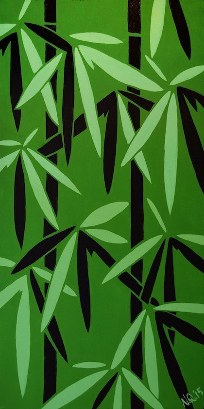 (CreativeWork) Bamboo Leaves by Nathan Dukes. arcylic-painting. Shop online at Bluethumb.