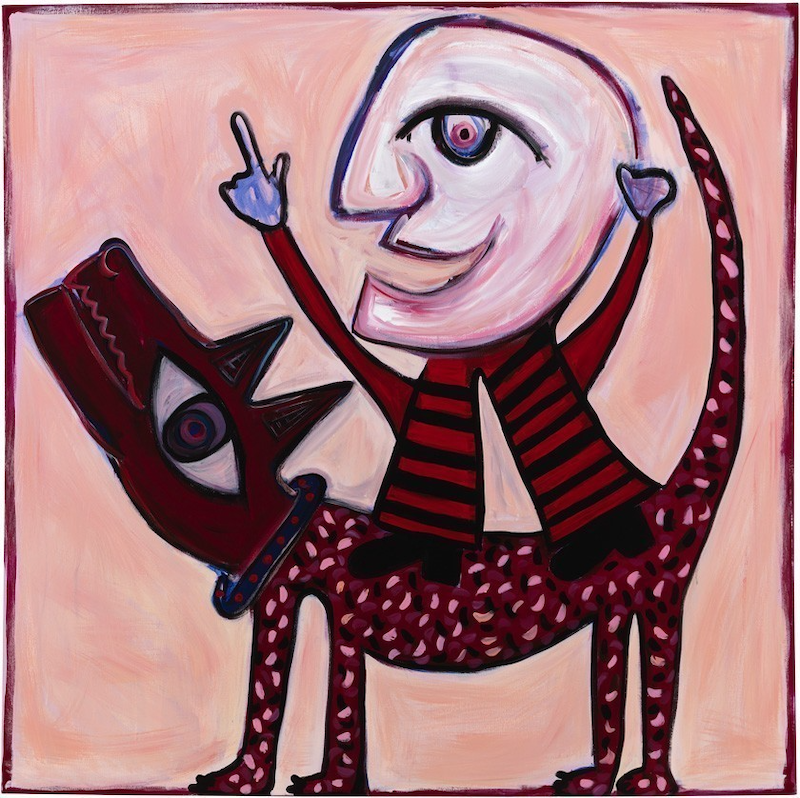 (CreativeWork) Yolo Man + Larry by Pamela Irving. arcylic-painting. Shop online at Bluethumb.