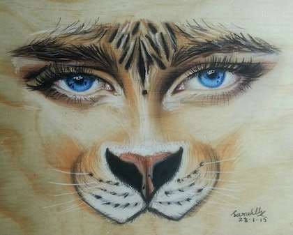 (CreativeWork) Saphire Whiskers by Sarah Cherloaba. drawing. Shop online at Bluethumb.