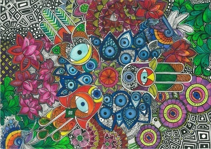 (CreativeWork) Evil eye by nichole gigliotti. drawing. Shop online at Bluethumb.