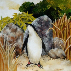 (CreativeWork) FAIRY PENGUIN by Johanna Hildebrandt. arcylic-painting. Shop online at Bluethumb.