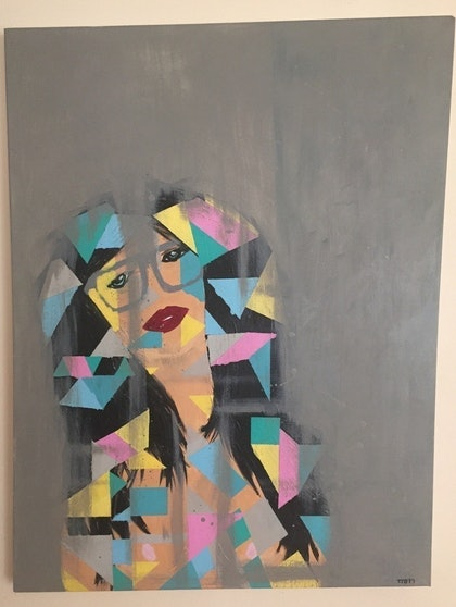 (CreativeWork) Sasha Belle. by Thom Collective. arcylic-painting. Shop online at Bluethumb.