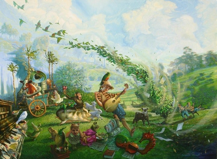 (CreativeWork) My Rubbery World by Greg Dwyer. oil-painting. Shop online at Bluethumb.