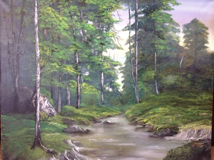 (CreativeWork) The Forest Brook by Pinki Das. oil-painting. Shop online at Bluethumb.
