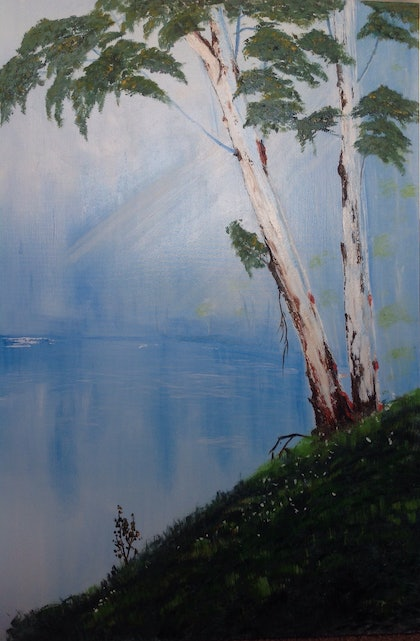 (CreativeWork) Gum Trees by Pinki Das. oil-painting. Shop online at Bluethumb.