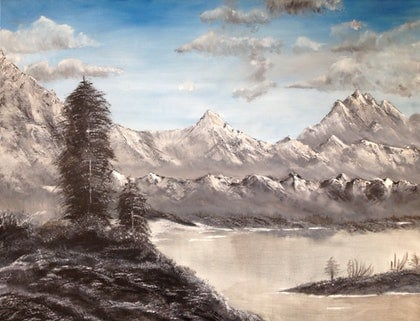 (CreativeWork) Snow covered Mountains by Pinki Das. oil-painting. Shop online at Bluethumb.
