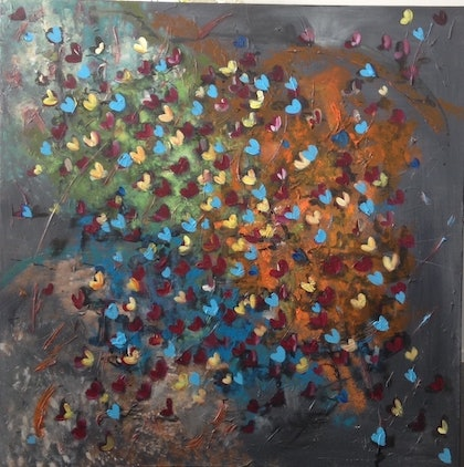 (CreativeWork) Butterflies by Pinki Das. arcylic-painting. Shop online at Bluethumb.