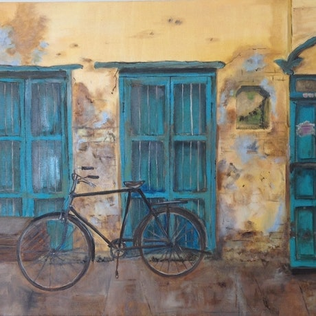 (CreativeWork) The Cycle by Pinki Das. Oil Paint. Shop online at Bluethumb.