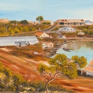 (CreativeWork) Australian Landscape Port Darwin 1887 - Northern Territory - Disappearing Darwin Series. Heritage Landscape  by Kit McNeill. oil-painting. Shop online at Bluethumb.