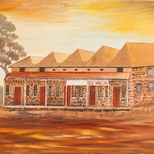 (CreativeWork) Australian Landscape The Sue Wah Chin Building - Disappearing Darwin Series. Heritage  Landscape  by Kit McNeill. oil-painting. Shop online at Bluethumb.