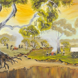 (CreativeWork) Australian Landscape The Camp at Howels Ponds/John McDouall Stuart Series. Heritage  Landscape  Ed. 2 of 20 by Kit McNeill. print. Shop online at Bluethumb.