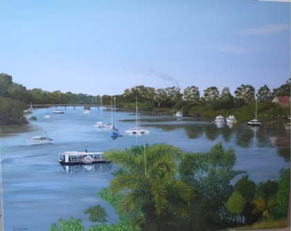 (CreativeWork) Mighty Mary River by Kylie Genrich. arcylic-painting. Shop online at Bluethumb.