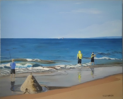 (CreativeWork) Beach Boys by Kylie Genrich. arcylic-painting. Shop online at Bluethumb.