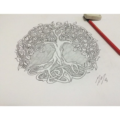 (CreativeWork) Tree of Life by Marc Mariner. drawing. Shop online at Bluethumb.