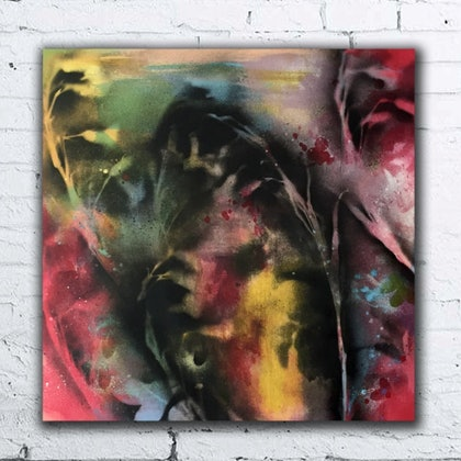 (CreativeWork) Floral Jazz by Milly Pearce. arcylic-painting. Shop online at Bluethumb.