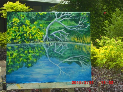 (CreativeWork) the bottom dam by Dave Clark. arcylic-painting. Shop online at Bluethumb.