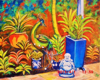 (CreativeWork) Buda's place by Dave Clark. arcylic-painting. Shop online at Bluethumb.