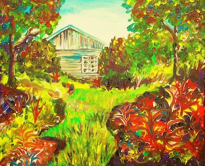 (CreativeWork) The Shed by Dave Clark. arcylic-painting. Shop online at Bluethumb.