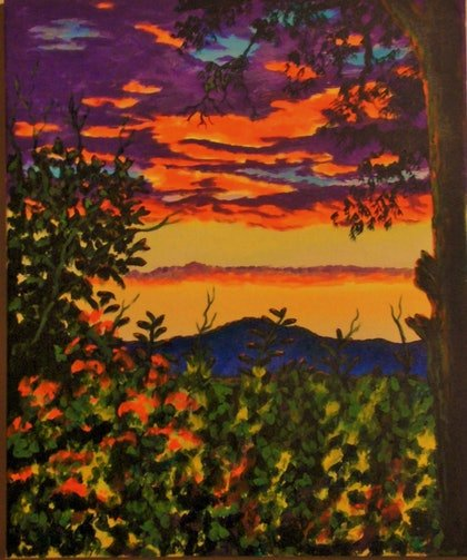 (CreativeWork) sunset over davangeegrove by Dave Clark. arcylic-painting. Shop online at Bluethumb.