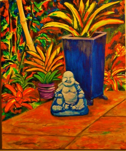 (CreativeWork) cheeky buda by Dave Clark. arcylic-painting. Shop online at Bluethumb.