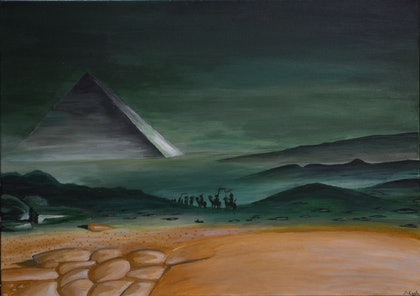 (CreativeWork) En Egypte by Andrew Cook. arcylic-painting. Shop online at Bluethumb.