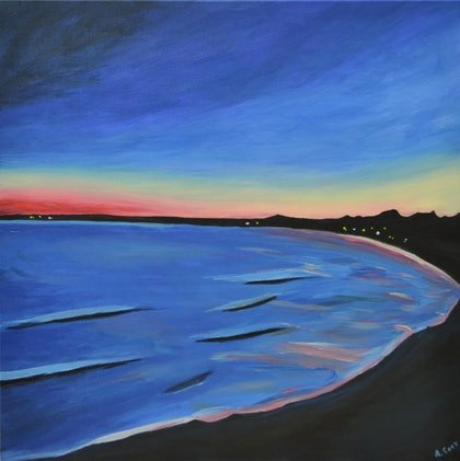 (CreativeWork) Madeleine's Bay by Andrew Cook. arcylic-painting. Shop online at Bluethumb.