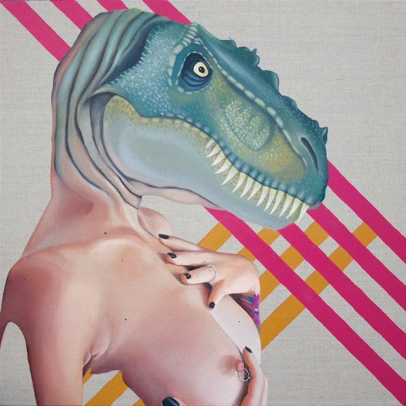 (CreativeWork) Queer Dinosaur by Kim Leutwyler. Oil Paint. Shop online at Bluethumb.