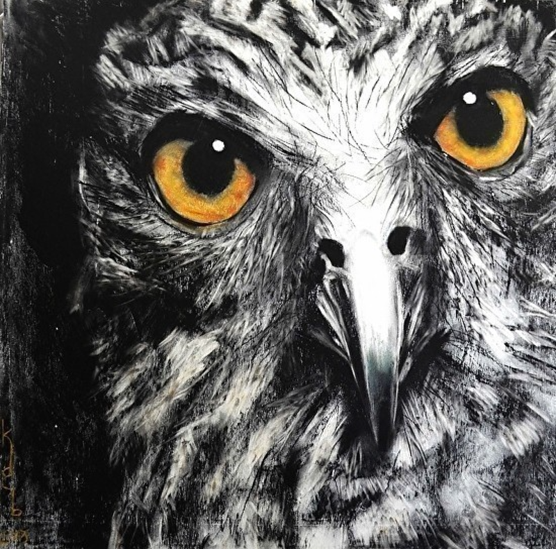 (CreativeWork) Powerful Owl 8/50 by Karen Bloomfield. other-media. Shop online at Bluethumb.