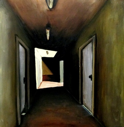 (CreativeWork) Safe House by Andrew Mark Gould. oil-painting. Shop online at Bluethumb.